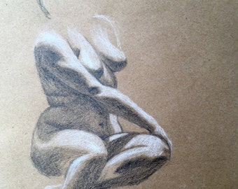 "Female Figure Drawing - ""Fallon"", 12x12 - Seated Female Figure - original figure drawing, charcoal and chalk on toned paper"