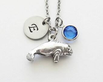 Manatee Necklace, Sea Cow, Marine Mammal, Sea Life, Swarovski Birthstone, Silver Initial, Personalized, Monogram, Hand Stamped Letter