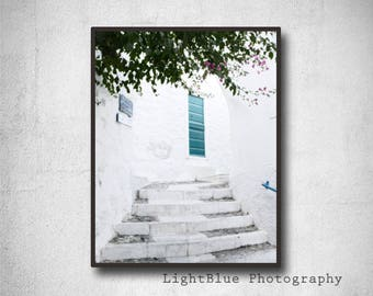 Printable Door Photography Door Print Greece photography Greek Island Print Digital Picture Travel photography  Blue and White decor
