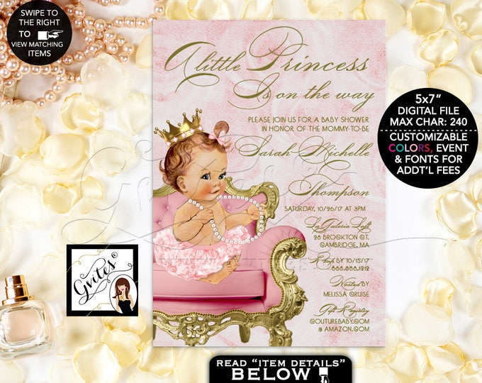 """Pink and Gold Baby Shower Princess Invitation, A little princess is on the way, gold and blush pink, printable, vintage. Digital 5x7"""" Gvites"""