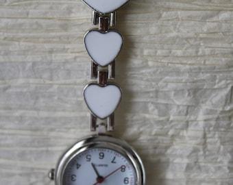 Nurses clip on heart watch (white)