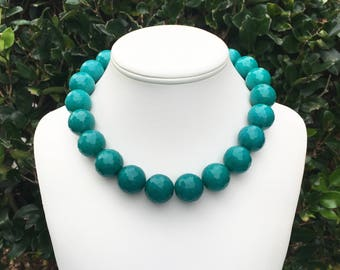Teal Gemstone Necklace Teal Jade Necklace Teal Statement Necklace Chunky Teal Necklace 20mm Round Multifaceted Teal Bead Necklace Blue Green