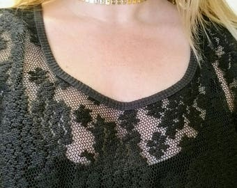 Square link choker in bright brass