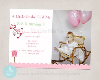 Pink Little Birdie Photo Invitation