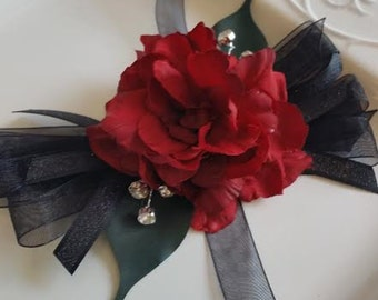 Red and Black Wrist Corsage with Matching Boutonniere   Prom Homecoming Wedding