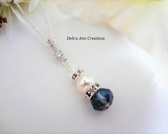 Blue Crystal Necklace Something Blue Gift For Bride Necklace Blue Bridesmaid Necklace Blue Wedding Blue Bridal Jewelry Blue Bridal Necklace