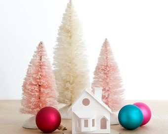 Putz House Ornament DIY Kit Bay Window Glitter House Christmas Decoration Paper Craft Kit Christmas Mantle Decor