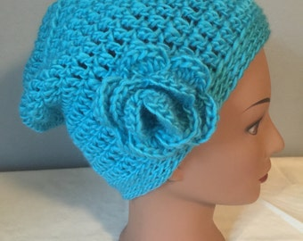 Teal Slouchy Girls Women's Hat in 100 percent Wool with Flower