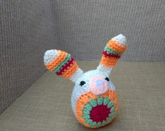 Crocheted Bunny Rabbit - White, Pink, Green and Orange
