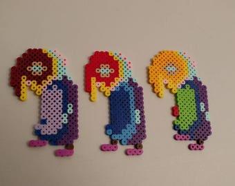 Yume Nikki Neon Parrot perler bead pixel art sprite SET of 3 pc