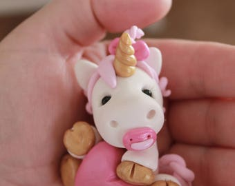 Baby Unicorn Cake Topper - Unicorn Cake Topper - Baby Shower Cake Topper- Keepsake Cake Topper