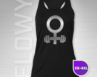 Female Strength Tank Top | Strong Woman Fitness Tank | Powerlifter | Venus Symbol & Barbell | Olympic Weightlifting | Crossfit | Gym Tank