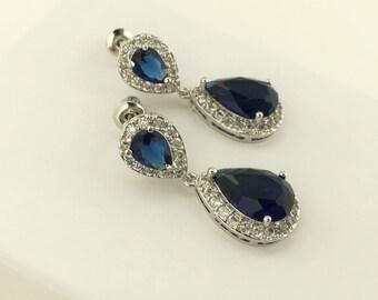 Sapphire Blue Cubic Zirconia Bridal Earrings Blue Wedding Jewelry Blue Crystal Earrings Sapphire Crystal Earrings Blue Bridesmaid Jewelry