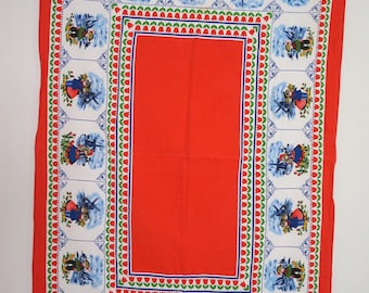 "Red and White Vintage Tablecloth Dutch Delft Design 36"" x 52"""