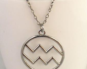 Aquarius necklace, aquarius pendant necklace, zodiac pendant necklace, january necklace, february necklace, aquarius zodiac necklace