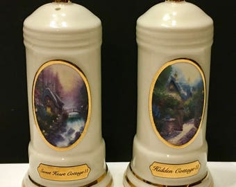 Thomas Kinkade Hidden Cottage & Sweet Heart Cottage Avon China Salt Pepper Shakers Set