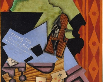 Juan Gris: Violin and Playing Cards on a Table. Fine Art Print/Poster. (003125)