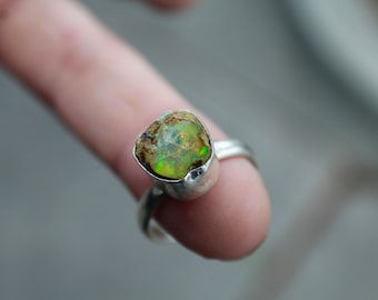 Raw Ethiopian Opal Ring, 925 Sterling Silver Opal Ring, Size 7.5, Fire Opal, Natural Opal Ring, October Birthstone, Gift for her