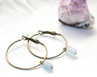 Raw Crystal Hoop Earrings, Aquamarine Hoops, Aquamarine Earrings, March Birthday Gift, Raw Aquamarine Earrings, Aquamarine Jewelry