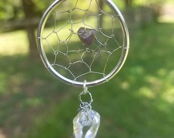 Dreamcatcher Pendant with Clear Quartz Dangle