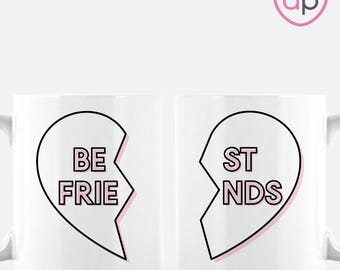 Best Friends Mug Set | Best Friend Gift | Best Friend Heart | Friendship Gift