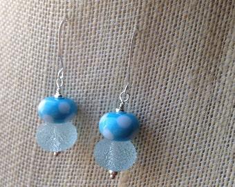 Spring blue lampwork earrings