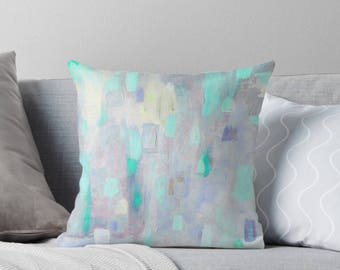 Throw Pillow Cover - Grey Pillow Cover with Mint Green - FREE Shipping - Decorative Pillows