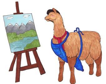 Llama Art - Llama Illustration - Llama Wall Art - Artist Llama -  Kids Wall Art - Artist Gift - Quirky Art Print