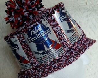 Pabst Blue Ribbon Handmade Crochet Beer Can Hat