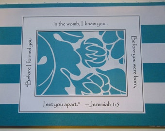 Aqua Baby Girl Ultrasound Frame Sonogram Frame Baby Announcement Grandparents Gift Baby Room Jeremiah Bible Verse 5x7 Frame
