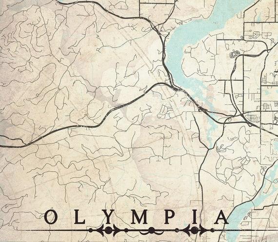 OLYMPIA WA Canvas print Washington State Vintage City map
