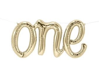 """One Balloon 30"""", White Gold Script Balloon, Boys 1st Birthday, 1st Birthday Balloon, One Banner, First Birthday Balloon, Girls 1st Birthday"""