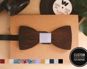 Wenge wood bow tie can be personalized with name engraved, men husband gift, custom bowtie, alternative wedding