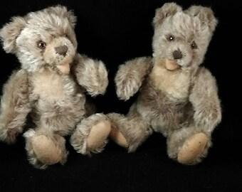"Nice lot of 2 x antique / vintage Steiff Zotty, German teddy, mohair teddy, 1950s,  6.2"" /6.6 """