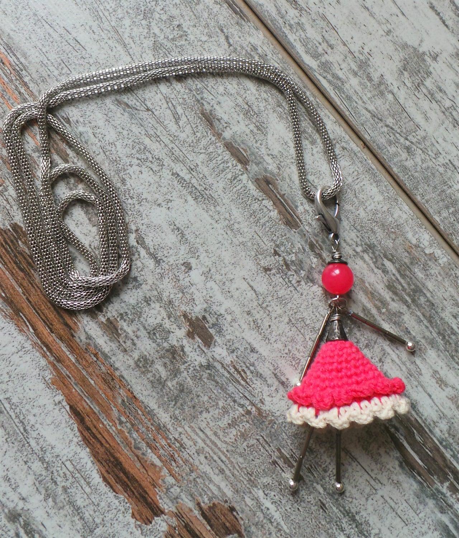Molto Collana crochet bambolina all'uncinetto e pietre dure EN22