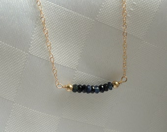 14k gold fill Sapphire necklace, Gold sapphire necklace, Gemstone necklace, Sapphire birthstone necklace, September birthstone necklace