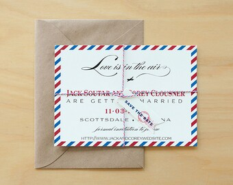Vintage Air Mail Save the Date Sample, Air Mail Wedding Invitations, Airplane Wedding Invites,Destination Save The Date,Love is in the Air