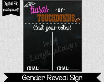 Gender Reveal Voting Chart - Tiaras or Touchdowns - Touchdowns or Tiaras - Instant Download - 8x10 - 11x14 - He or She - Voting Chart - Baby