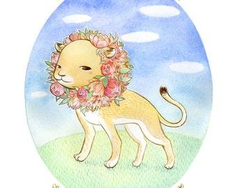 "Art Print - ""The Lioness"" - 8x10 spring lion illustration"