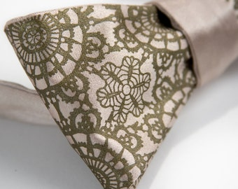 Cottage Lace champagne bow tie. Self-tie, freestyle mens bow tie. Silkscreened antique brass print.