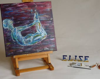 Peinture artistique Tableau Femme yoga enfant posture arc abstrait décoration violet format carré 40 cm