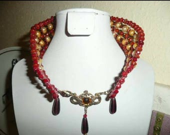 Award winning and Hand crafted Parisian Collar made with Rubies, crystals and Pearls