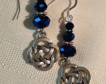 Dark blue aurora borealis and Sterling silver pierced earrings with Celtic knot charms