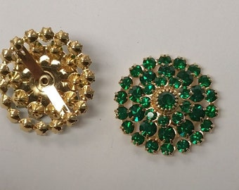 Swarovski Crystal in Emerald Green Plated in 24k Gold in row of 4 (2)