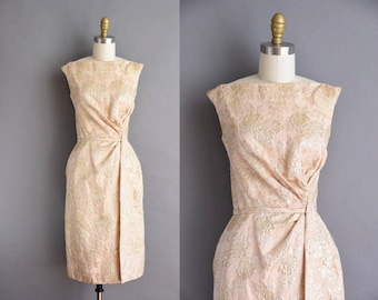 Ceil Chapman GOLD ROSE 50s Nude Brocade Cocktail Bridesmaid Dress 1950s  Small Vintage Dress
