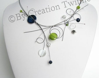 bridesmaids gifts , navy blue lime green necklace, wedding jewelry , bridesmaid necklace, delicate necklace , funky jewelry , mother gift