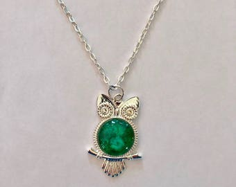 Green Wise Owl Necklace