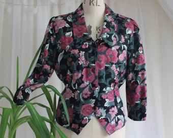 Blouse Vintage Floral noir et rose des années 1980 par Etam. UK 12 / US 8