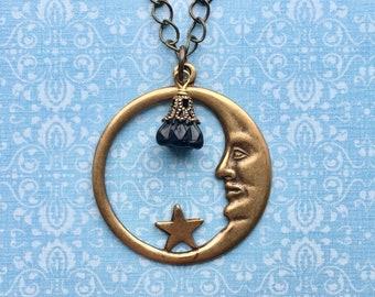 Moon Necklace - Moon Jewelry - Celestial Jewelry - Moon Face Jewelry - Moon and Stars - Man in the Moon - Crescent Moon - Celestial Necklace