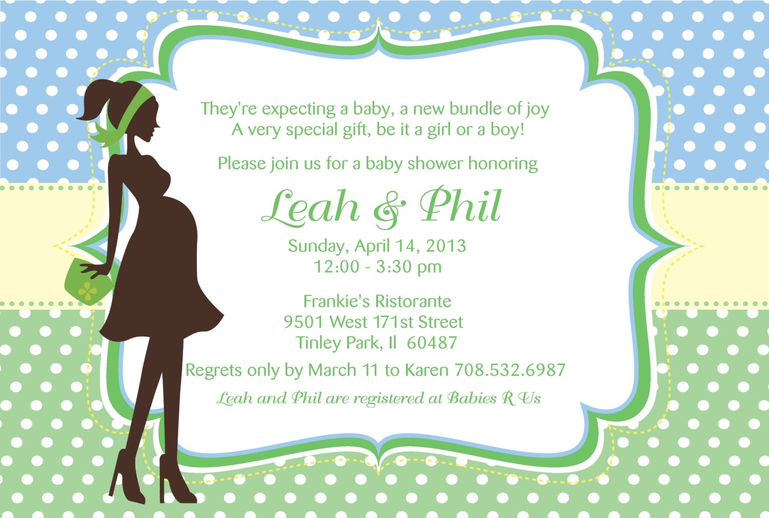 Printable Pregnant woman silhouette baby shower invitation